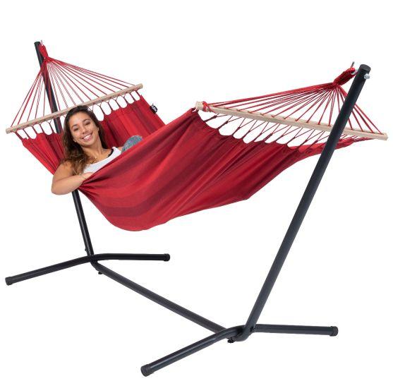 Houpací síť s jednoduchým stojanem Easy & Relax Red